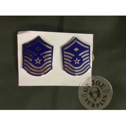 """GALONES DE CUELLO USAF """"MASTER SERGEANT"""" EN CARTON GENUINOS"""
