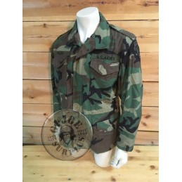 "M65 WOODLAND CAMO JACKET ""US ARMY 10TH MOUNTAIN DIVISION"" MEDIUM SHORT /UNIQUE PIECE"