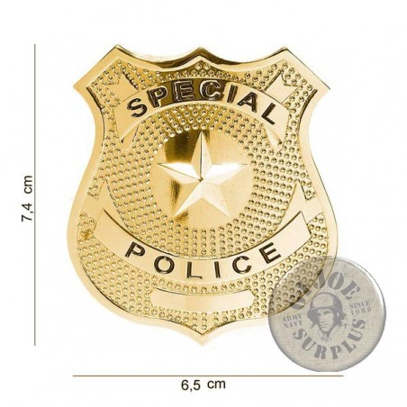 """POLICE CHEST INSIGNIA """"US SPECIAL POLICE"""" GOLD NEW"""