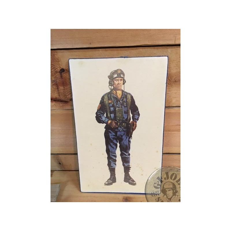 "SPANISH ARMY WOOD PHOTO ""TANK CHIEF"" /COLLECTORS ITEM"