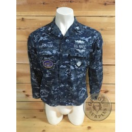"US NAVY NWU CAMO JACKET ""CVN-75 HARRY S.TRUMAN AIRCRAFT CARRIER"" /COLLECTORS ITEM"