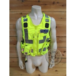 BRITISH POLICE HIGH VISIBILITY TACTICAL VEST WITH PATCHES /COLLECTORS ITEM