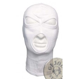 "3 HOLE BALACLAVA ""AGRESSIVE"" 100% COTTON WHITE"