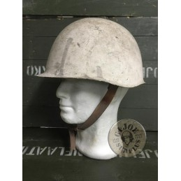 "CZECH ARMY ""M53"" SNOW CAMO IRON HELMET USED CONDITION"