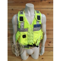"BRITISH POLICE HIGH VISIBILITY TACTICAL VEST ""ARKTIS"" WITH POLICE PLATES USED /COLLECTORS ITEM"