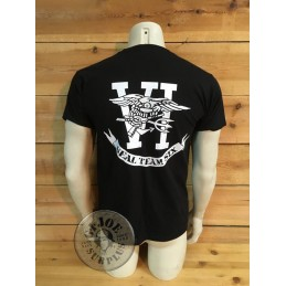 "T/SHIRT LOGO ""NAVY SEALS TEAM SIX 2-SIDES"" BLACK COLOUR"