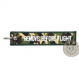 """LLAVERO """"REMOVE BEFORE FLIGHT"""" CAMUFLAJE"""