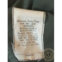 "PARKA ""M1947 OVERCOAT PARKA TYPE"" VERDE OLIVA  ""US ARMY 1951"" COMO NUEVA / PIEZA UNICA"
