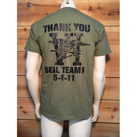 "T/SHIRT LOGO ""NAVY SEALS TEAM SIX THANK YOU 2-SIDES"" GREEN COLOUR"