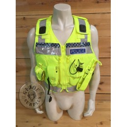 """SOLD!!! BRITISH POLICE HIGH VISIBILITY TACTICAL VEST """"ARKTIS"""" WITH POLICE PLATES USED /COLLECTORS ITEM"""