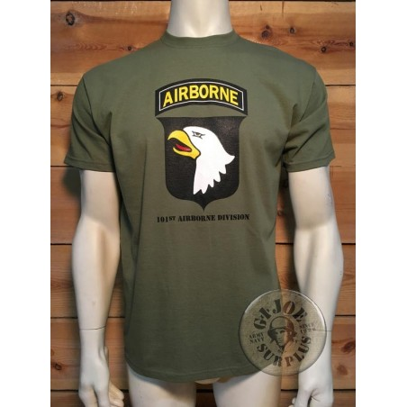 "CAMISETA M/CORTA ALGODON VERDE ""101 AIRBORNE DIVISION SCREAMING EAGLES"""