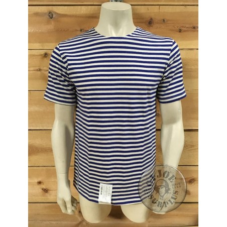 TELNYASHKA SHORT SLEEVE GENUINE RUSSIAN LIGHT BLUE STRIPES