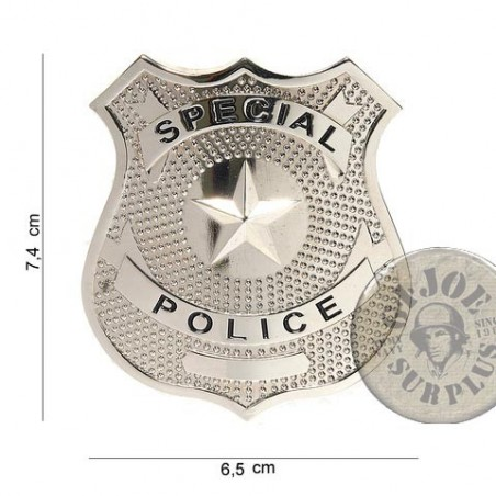 """POLICE CHEST INSIGNIA """"US SPECIAL POLICE"""" SILVER NEW"""