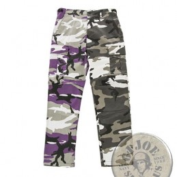 BDU TWO-TONE CARGO TROUSERS /PURPLE-URBAN CAMO