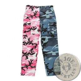 BDU TWO-TONE CARGO TROUSERS /PINK-SKY BLUE CAMO