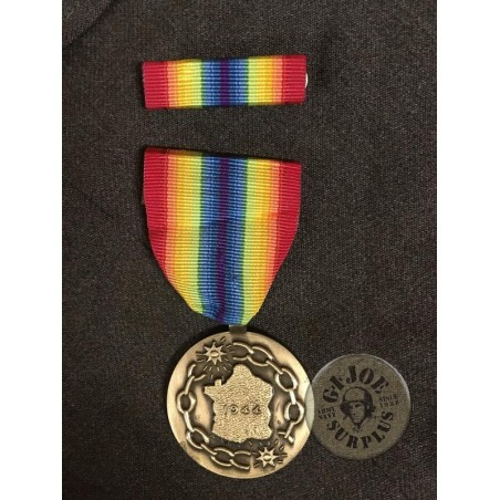 "FRENCH REPUBLIC MEDAL ""LA FRANCE A SES LIBERATUEURS 1944"" COMPLETE and NEW /UNIQUE PIECE"