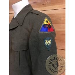 "JAQUETA DE TROPA IKE M1950 US ARMY KOREAWWII ""4TH ARMOURED DIV"" /PEÇA UNICA"