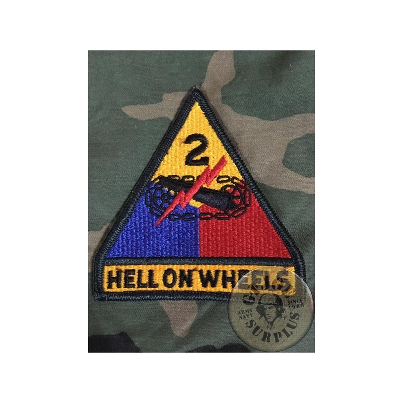 """PARCHE GENUINO US ARMY """"2on ARMORED DIVISION HELL ON WHEELS"""""""