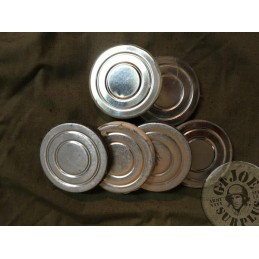 SMALL METAL BOXES (2 PIECES) CONTAINING PROTECTION LENSES FOR THE GP4-GP5 SOVIET UNION GAS MASK NEW