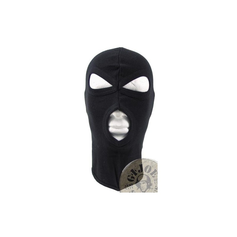 "3 HOLE BALACLAVA ""AGRESSIVE"" 100% COTTON BLACK"