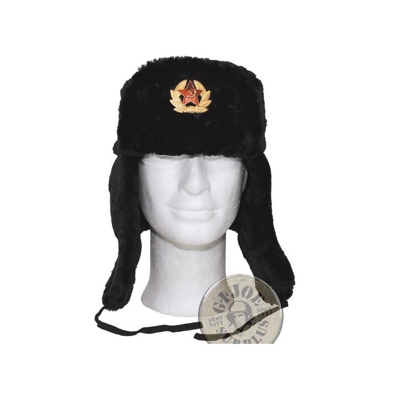 "GORROS INVERNALES REPLICA ""USHANKA"" UNION SOVIETICA NEGRO"