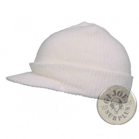 "PEAK WATCH CAP ""JEEP CAP"" WHITE COLOUR"