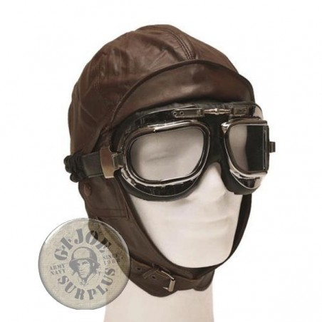 PILOT GOOGLES WWII STYLE SILVER COLOUR