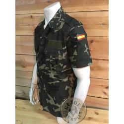 SPANISH ARMY WOODLAND RIPSTOP CAMO SHORT SLEEV SHIRT NEW